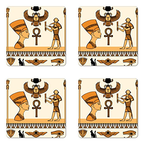 Ambesonne Egyptian Coaster Set of Four, Historical Ancient Symbols Set with Nefertiti Profile Antique Artwork, Square Hardboard Gloss Coasters for Drinks, Ivory Marigold Black ()