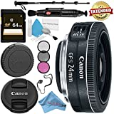 Canon EF-S 24mm f/2.8 STM Lens 9522B002 + 52mm 3 Piece Filter Kit + 64GB SDXC Card + Lens Pen Cleaner + Fibercloth + Lens Capkeeper + Deluxe 70 Monopod + Deluxe Cleaning Kit Bundle