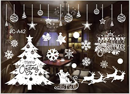 20 Snowflake Christmas Clings Window Wall Stickers Decorations Reusable Home