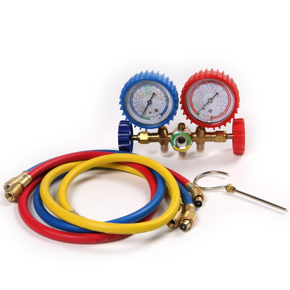 CSLU-Tool R134a R12 R22 Manifold Gauges Tools Set High / Low HVAC AC Diagnostic Refrigeration Test w / 900mm Charging Hoses Kit