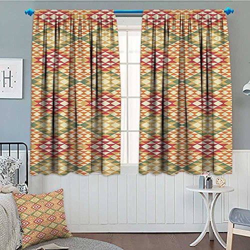 Native American Decor Collection Room Darkening Wide Curtains Colorful Geometric Ethnic Aztec Patterns South Mexican Traditional Folk Art Print Decor Curtains By 84''x84'' Multi by lacencn