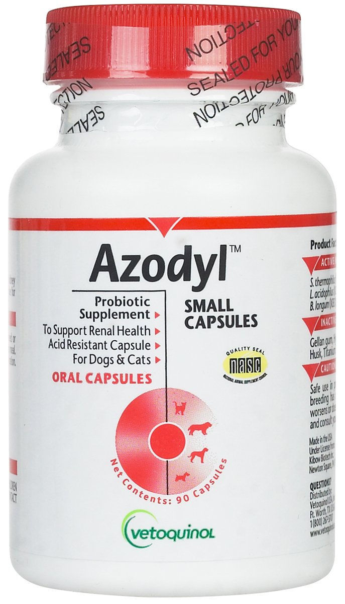 Vetoquinol Azodyl Kidney Health Supplement for Dogs & Cats, 90ct - Probiotic Pet Well-being - Help Support Kidney Function & Manage Renal Toxins - Renal Care Supplement - Easy-to-Swallow Small Caps by Vetoquinol