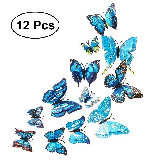 Imanes Nevera VORCOOL imanes de nevera mariposas de pared 3d azul ...