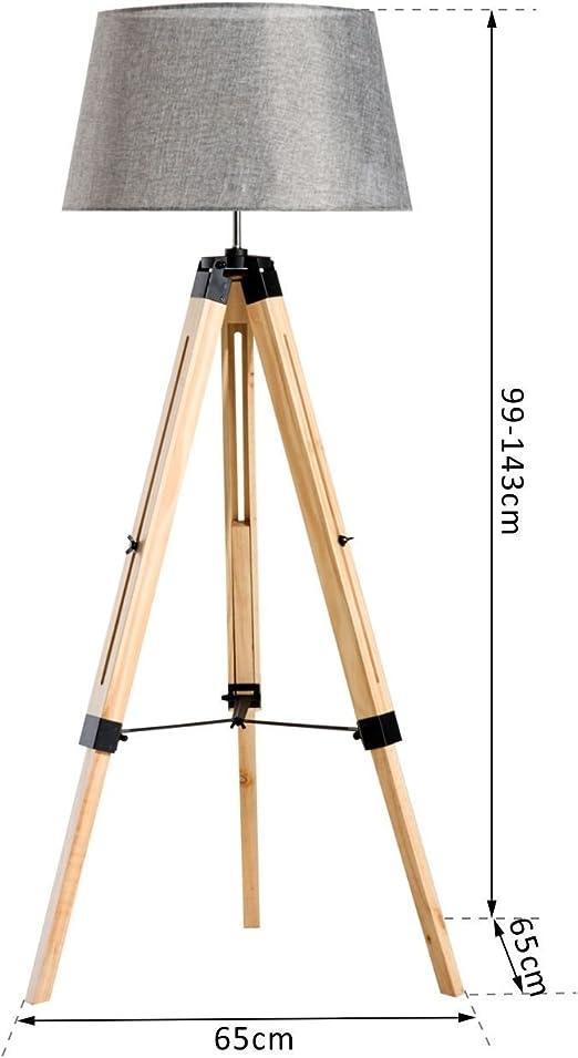 HOMCOM Wooden Adjustable Tripod Floor Lamp Modern Illumination Design E27 Bulb Compatible (Grey Shade)
