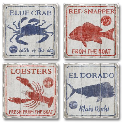 Catch of the Day Set of 4 Coasters Blue Crab, Red Snapper, El Dorado, Lobster (Snapper Net)