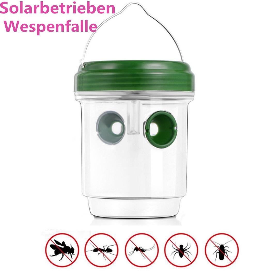 huichang Wespenfalle 2 Stück | Solarbetrieben Wespenfänger und Fliegenfalle Ohne Gift | Wespenabwehr | Mittel Gegen Wespen | Insektenfalle | Deutscher Hersteller (1 Stück)