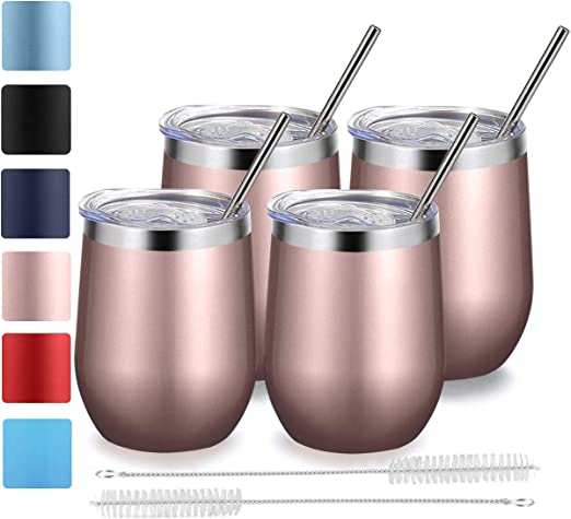 Stainless Steel Cocktail Cup Drink Coffee Wine Beer Mug with Straw Rose Gold