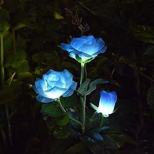 Abkshine LED Rose Solar Flower Lights Outdoor Decorative Garden Stake Lights for Garden Yard Grave Vase Flowers Decor, Blue