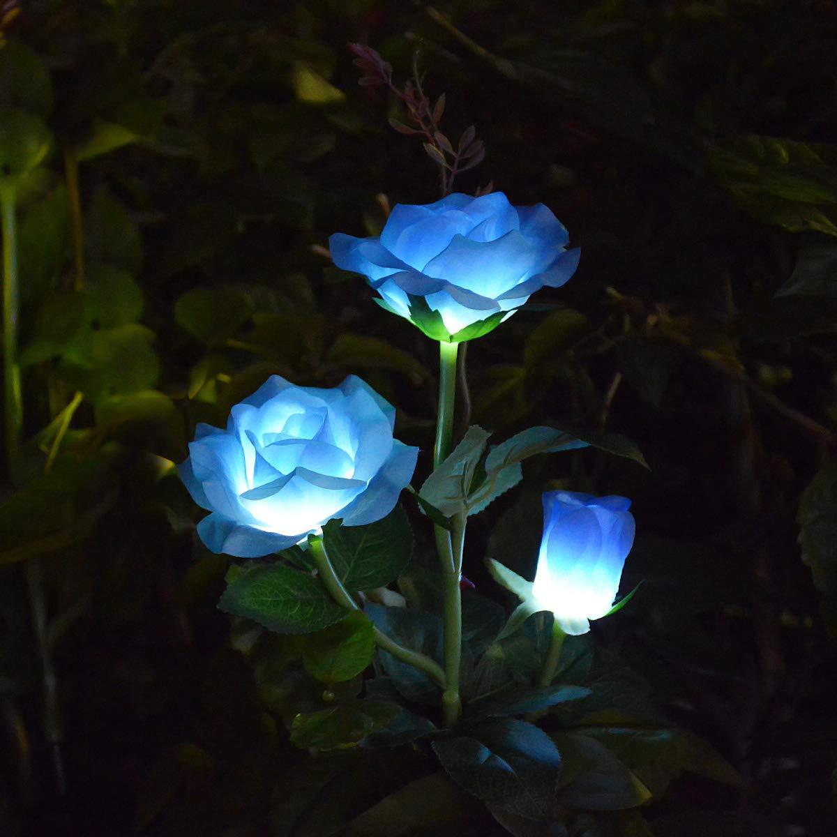 LAMPDREAM LED Rose Solar Flower Lights Outdoor Decorative Garden Stake Lights for Garden Yard Grave Vase Flowers Decor, Blue
