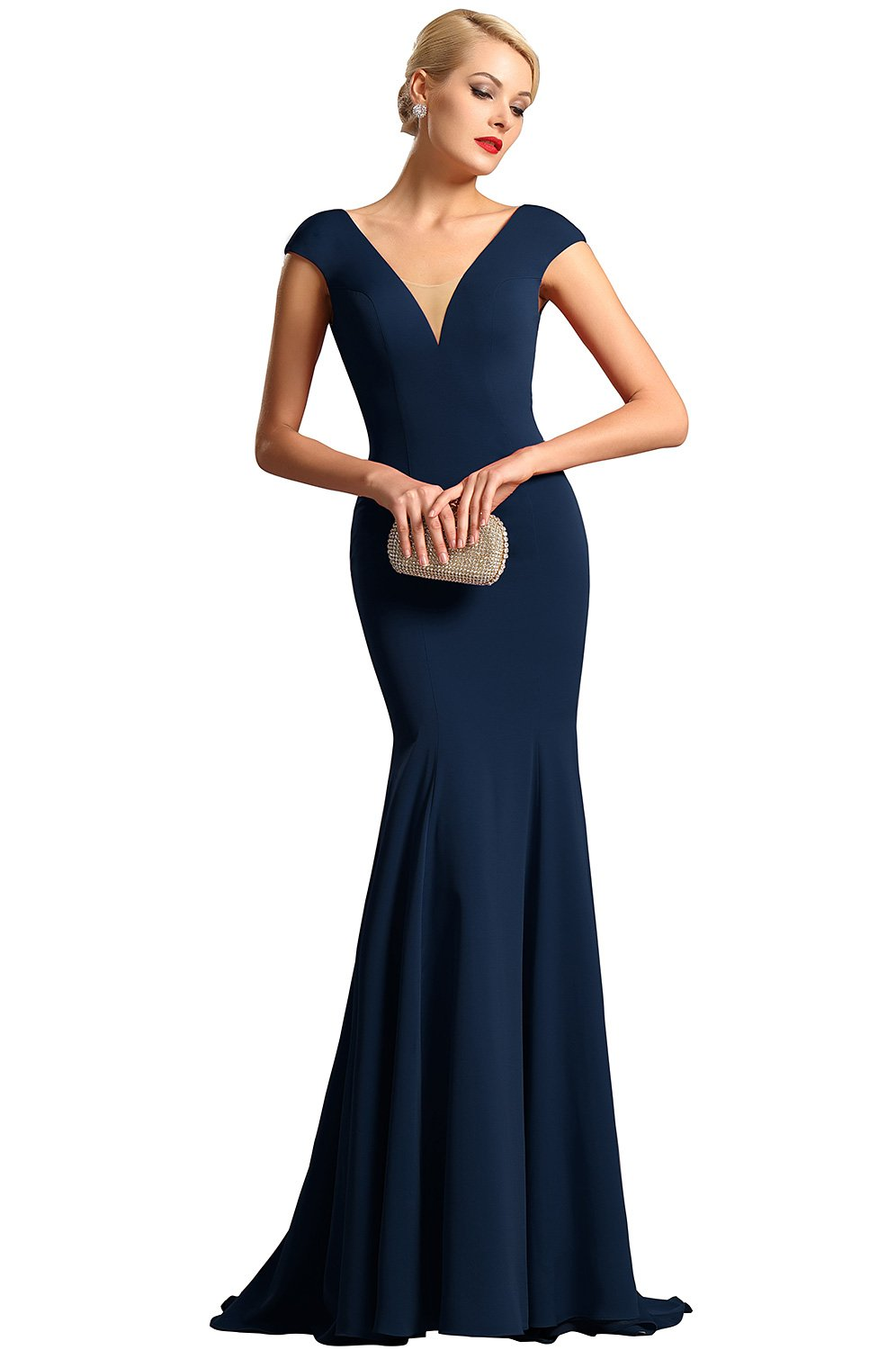 a702ee679b eDressit Capped Sleeves Plunging Neckline Navy Blue Formal Dress (00161258)