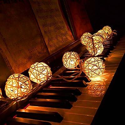 Lvzun Cream White Rattan Ball Fairy Lights -Decorative LED String Light 20 Leds -Ideal for Wedding, Christmas & Party Decoration