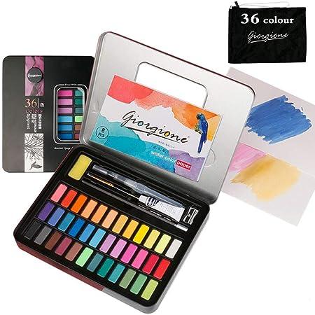 Set de Pinturas de Acuarela,Caja de Acuarelas 36 Colores,Caja de Acuarelas Profesionales,Pigmento Sólido,Caja de Acuarelas Niños,Caja de Acuarelas,Set de Pintura (36 colores) (A): Amazon.es: Hogar