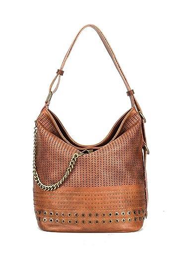 01e20aff3caa5 Angkorly Handtaschen Shopper Taschen Umhängetaschen Tote bag Tote bag  Perforiert Geflochten goldene Kette Böhmen Vintage