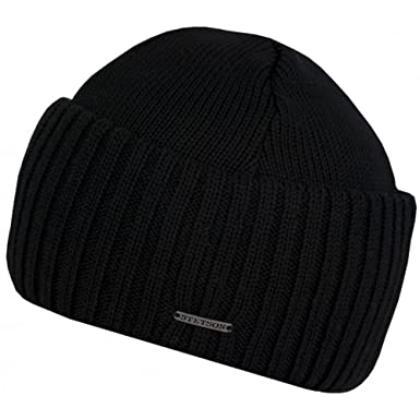 5a93a76cdb9 Stetson Northport Merino Wool Beanie with Wide Cuff (Black) at Amazon Men s  Clothing store