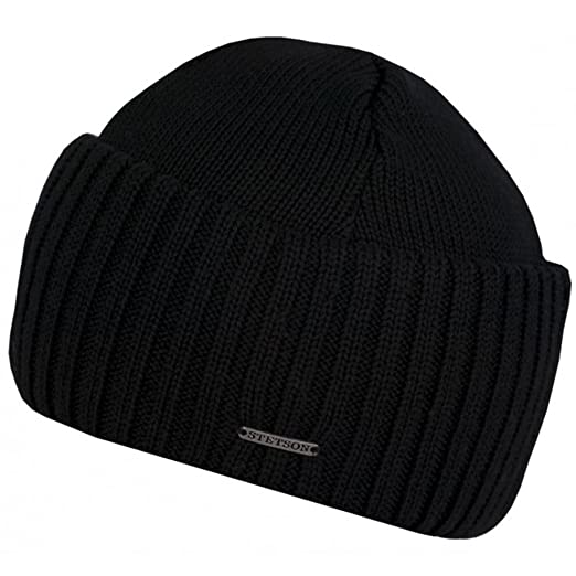 3a40272852f Stetson Northport Merino Wool Beanie with Wide Cuff (Black) at ...