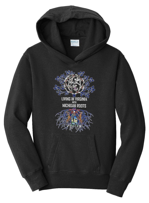 Tenacitee Girls Living in Virginia with Michigan Roots Hooded Sweatshirt
