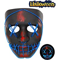 Vatos Halloween Mask Led Light Up Scary Mask for Festival Cosplay Halloween Masquerade Costume Parties (Black)