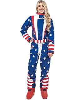 426914bcbbb4 Tipsy Elves Women s American Flag Patriotic Ski Suit - Retro 80 s Inspired  USA Snow Suit for