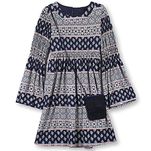 Speechless Big Girls' 7-16 Tween Knit Dress Purse, Ivory Navy, 16 -