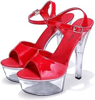 MNII Chaussures Talons Hauts Crystal Straps Sandales à Plateforme éTanche- Élégant et beau