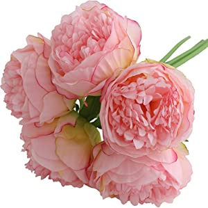 Felice Arts Silk Peony Bouquet 5 Heads Artificial Fake Flower Bunch Bouquet Bridal Bouquet Wedding Valentine's Day Living Room Table Home Garden Decoration(Hot Pink)