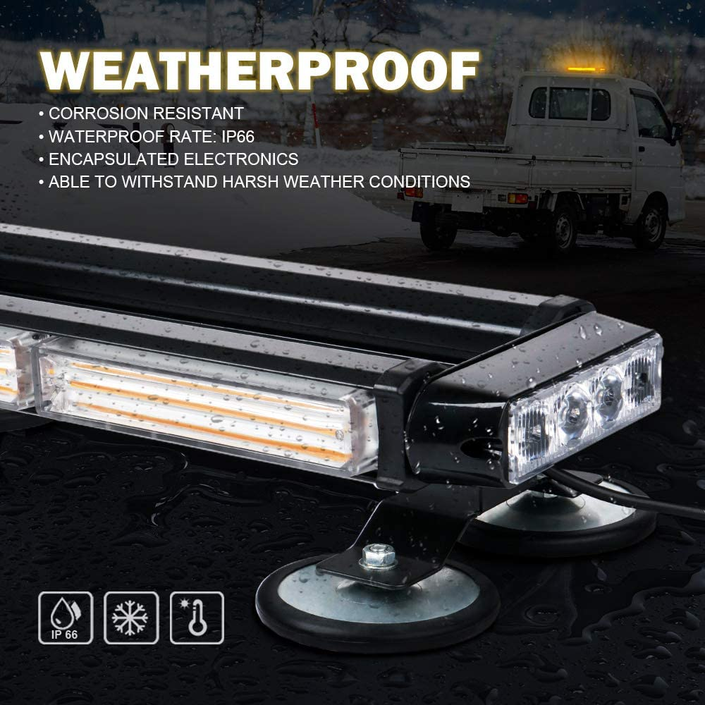 Xprite Amber 32 LED Strobe Flashing Light Bar 21 Flash Modes Emergency Hazard Warning Beacon Lights with Magnetic Base for Tow Vehicles Trucks Car Trailer Tractor Snow Plow Roof Safety