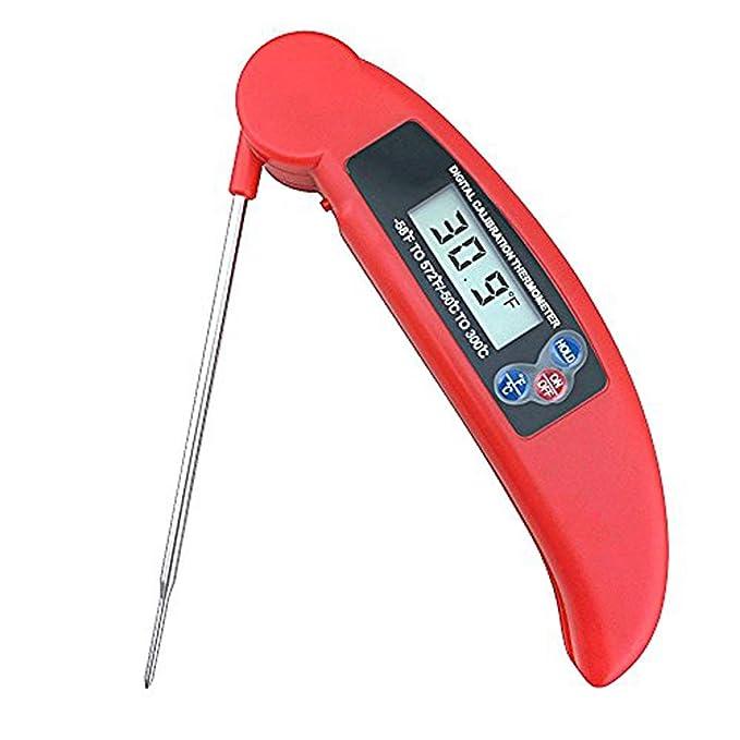 Lectura instantánea termómetro de cocina - Termómetro de bolsillo plegable con parte posterior magnética, largo sonda carne Grill termómetro digital ...