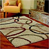 "Shag Wedding Band Bisque Area Rug - 5'3"" x 7'6"""