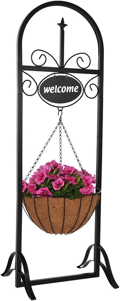 Sunnydaze Hanging Basket Planter Stand with Decorative Welcome Sign, Indoor Outdoor Plant Holder, 48 Inch Tall