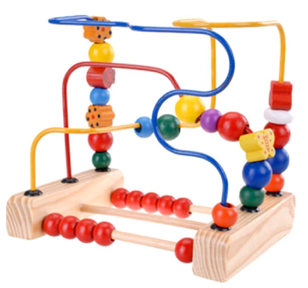 SSJ: Wooden Bead Roller Multicolor Circle Coaster First Bead Maze Toys for Kids