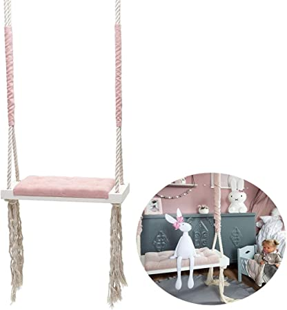 QJJML Indoor schaukel Baby,kinderschaukel Indoor,kinderschaukel Indoor  Holz,kinderzimmer Dekoration Unterhaltung massivholzbrett Schwamm pad  Baumwolle ...