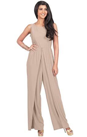 a56c97ac01113 Amazon.com: KOH KOH Womens Sleeveless Cocktail Wide Leg One Piece Jumpsuit  Romper Playsuit: Clothing