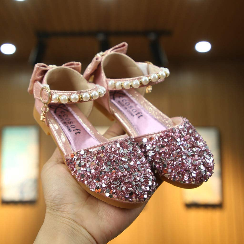 Kids Girls Mary Jane Sandals Baby Girls Closed Toe Bling Sequins Ballet Flats Princess Dress Sandals Shoes with Pearl