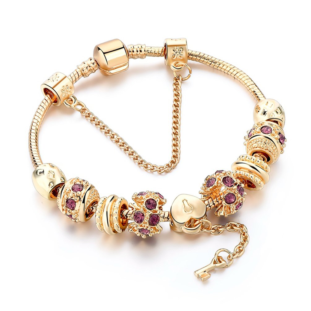 Charm Bracelet, Gold plated Snake Chain Heart Charm Lock And Key To My Heart Beads for Teens Gift