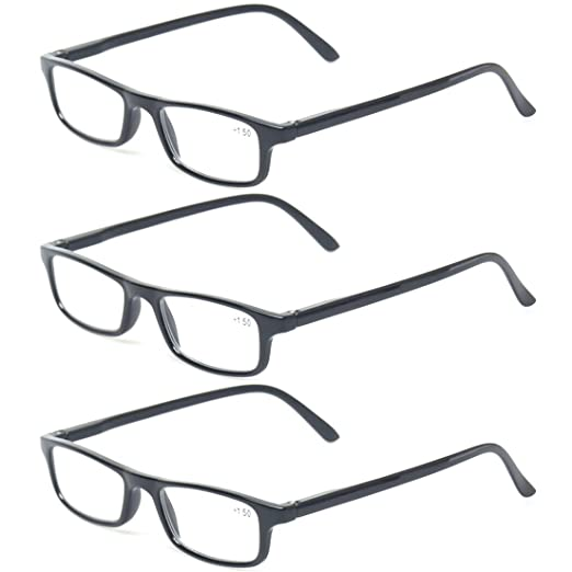 25dd3e2c8d2 Reading glasses 3 Pack Spring Hinge Professor Readers for Men and Women  Fashion Glasses for Reading
