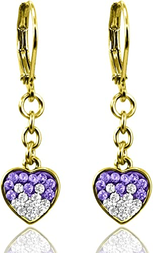 A Touch of Dazzle Heart Earrings with Clear and Colored Embedded Crystals | Comfortable Leverback Earrings 18k Gold Plated Dangle Earrings
