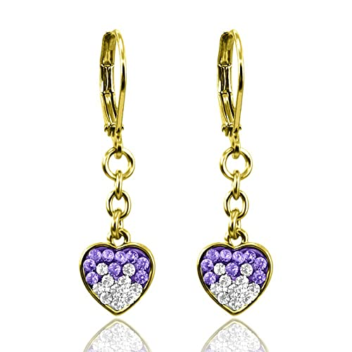 0938ab9d78cbcb Heart Earrings For Women Gold Plated Two Tone Crystal Earrings - Pave Heart  Hoop Earrings For