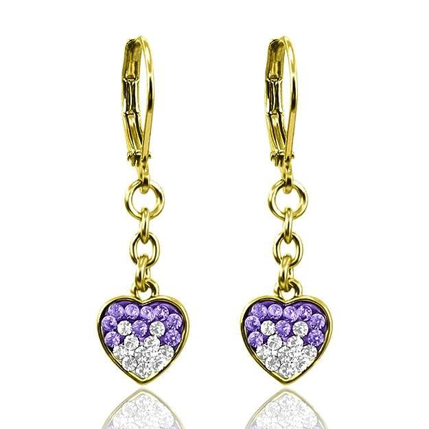 18K Gold Plated Girls Earrings | Hypoallergenic Earrings for Girls | Dangle Earrings for Kids Crystal Heart Charms | Nickel Free Girls Earrings Sensitive Ears | Great Gift for Girls Jewelry for Kids