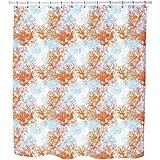 Uneekee Coral Garden Shower Curtain: Large Waterproof Luxurious Bathroom Design Woven Fabric
