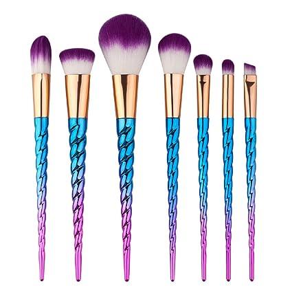 King Love Star Pinceles de maquillaje 7 piezas Manija de color plateado Unicornio Maquillaje cepillos Cosmético
