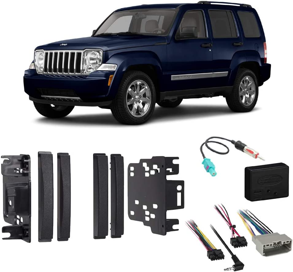 Compatible with Jeep Liberty 2008 2009 2010 2011 2012 Double DIN Stereo Harness Radio Install Dash Kit Package