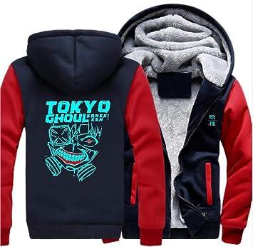 メンズパーカーフルジッパープリント、東京グールグローイングライト、ベルベット厚手のフード付きセーターコートウールフリースフーディー、冬に適しています