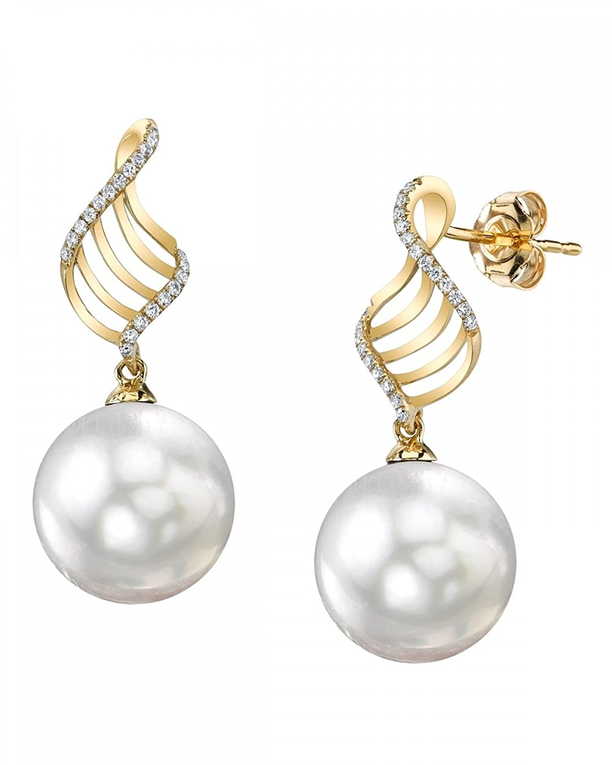 14K Gold White South Sea Cultured Pearl & Diamond Jenny Earrings