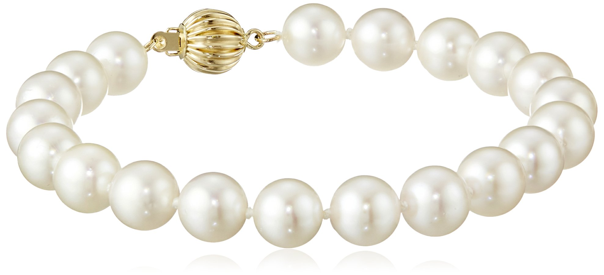 14k Yellow Gold  AA Quality Saltwater Cultured Akoya Cultured Pearl Bracelet (7.5-8mm)