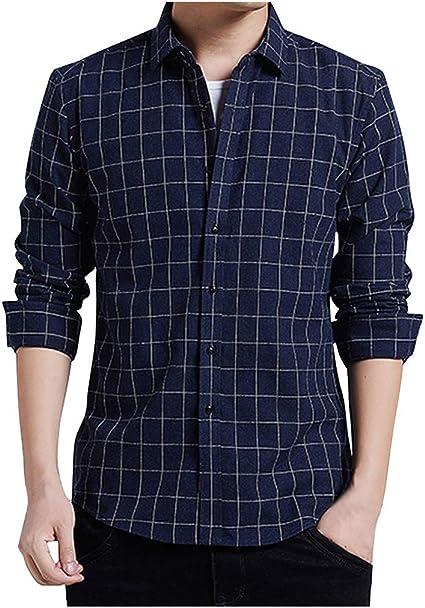ZODOF camisa hombre camisas sport Nuevo Casual Comodo Moda A rayas Suelto Solapa Manga larga Camisa Tops Blusa Moda para hombre camisa guapa camisa hombre(XXXL,Armada): Amazon.es: Instrumentos musicales