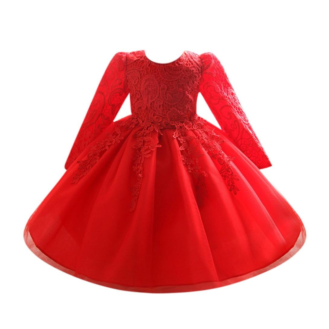 Girls Dresses, Wanshop® Flower Baby Girl Long Sleeve Princess Bridesmaid Pageant Gown Birthday Party Wedding Dress for 0-12 Years Old Months Girls Wanshop -112