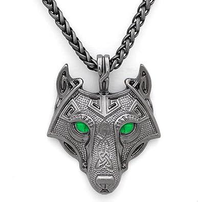 Einzigartige Viking Wolf Kopf Anhänger Halskette Smaragd grünen Augen  handgefertigt Antik Grau 5efeae5a0c