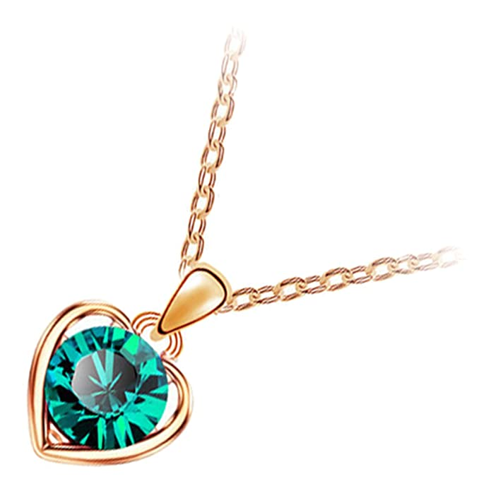 Amazon.com: GWG 18K Gold Plated Jewellery Set of Pendant Necklace, Earrings, and Chain Bracelet Round Cut Emerald Green Crystal in Heart Framing for Women: ...