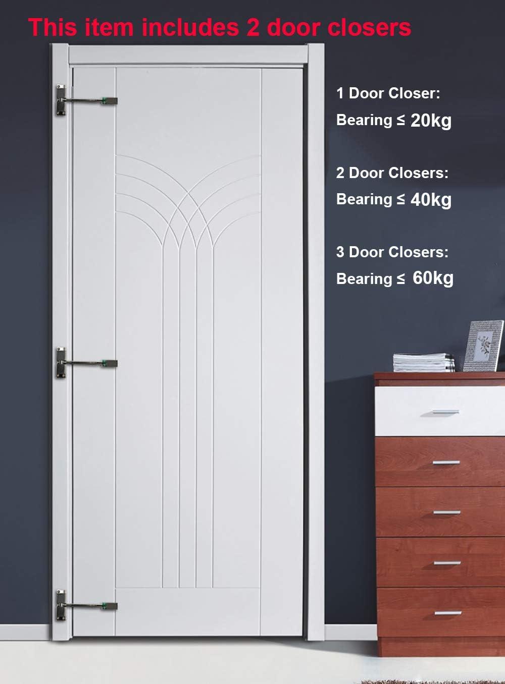 2 pieza Cierrapuertas, Cierre de puerta automático, Tensión ajustable, soporte hasta 40kg, viene con llave hexagonal y tornillos: Amazon.es: Bricolaje y herramientas