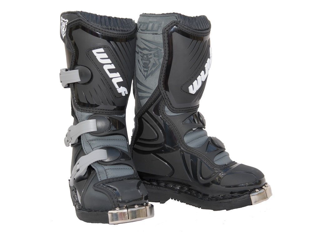 EU 32 // UK Kids 13, Black Wulfsport Cub LA Junior Kids Leather Motocross Boots